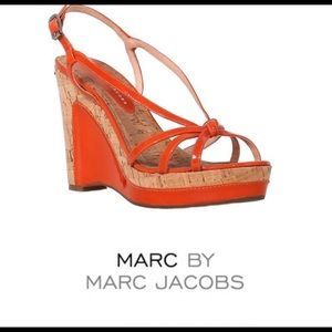 Marc by Marc Jacobs Orange Patent Cork Wedge